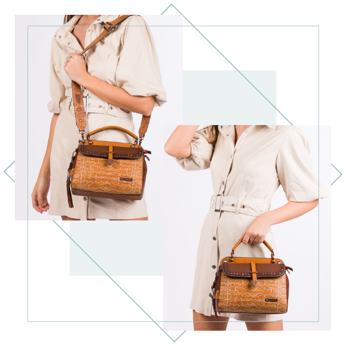 Double compartment handbag with flaps